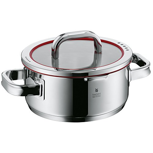 Wmf Cookware Ø 20 Cm Approx. 2, 5l Function 4 Inside Scaling Lid - Pour Off Or Decant Liquids Without Spilling To Keep Your Dishes And Cooker Clean. Made In Germany Hollow Side Handles Glass Lid Cromargan Stainless Steel Brushed Suitable For All Stove T