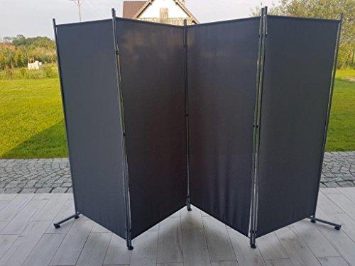 Balkontex Mobiler Sichtschutz 4tlg. Spanische Wand Paravent 160x300,180x300CM,L,W,I förmig (1,8x3m, Grau)