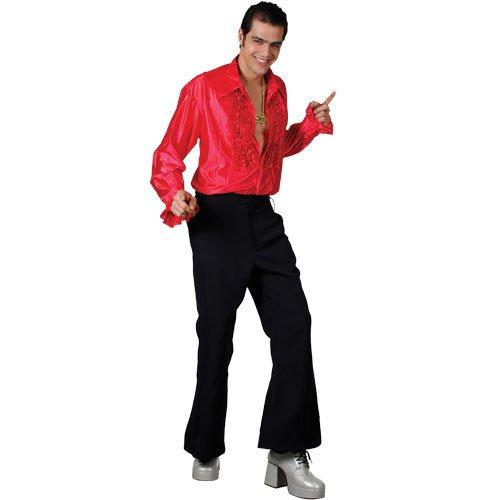 Crazy Groovy 70er Disko Shirt Rot Verkleidung für Männer Halloween Kostüm - Für Erwachsene Groovy Disko Kostüm