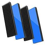 Akuoly Set di 4 dissipatori di Calore in Alluminio con Nastro termoadesivo, 70 mm x 22 mm x 6 mm, Nero