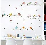YANCONG wandtattoo kinderzimmer Kleine Vögel Baumast Für Schlafzimmer Dekoration Flugzeug PVC Wandbild Fenster Cartoon DIY Wallposters
