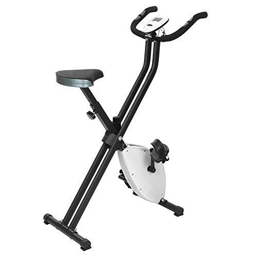 Flyelf Cyclette da Allenamento con Display LCD,Pieghevole Home Trainer Cyclette con Sensori delle Pulsazioni, 8 Livelli di Resistenza (Nero-Bianco)