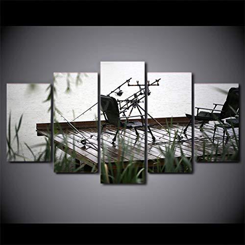 MMLFY 5 Leinwandbilder Modulare Bild leinwand malerei 5 stücke Gedruckt Angeln Stuhl für Schlafzimmer Wohnzimmer Hause wandkunst Dekor