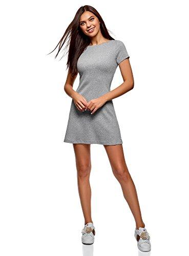 Baumwolle Mini-kleid (oodji Ultra Damen Kleid Basic mit Rundhalsausschnitt, Grau, DE 36 / EU 38 / S)