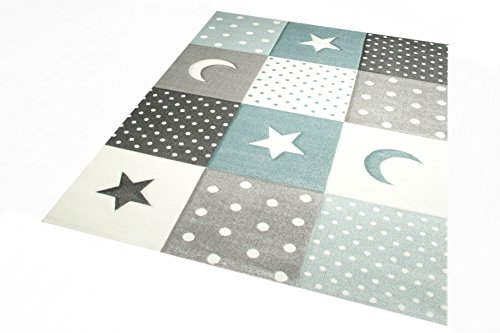 Kinderteppich Teppich Kinderzimmer Babyteppich Stern Mond in Blau Türkis Grau Creme Größe 80x150 cm