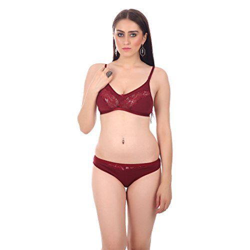 Embibo Maroon Hosiery Bra & Panty Set For Women size 36  available at amazon for Rs.180