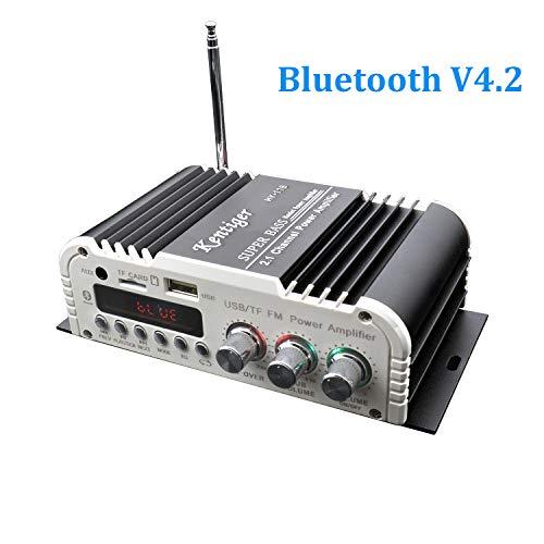 FisherMo Mini Bluetooth Verstärker Subwoofer, 2.1 Channel Super Bass Klasse AB Digital Mächtig Endstufe Hi-Fi Stereo Musik FM Radio Empfänger für PC Handy TV