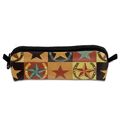 Custom Western Texas Star Pattern Pencil Case Holder Office Storage Organizer Pen Bag For School Office Women Men Student Teens Kids -