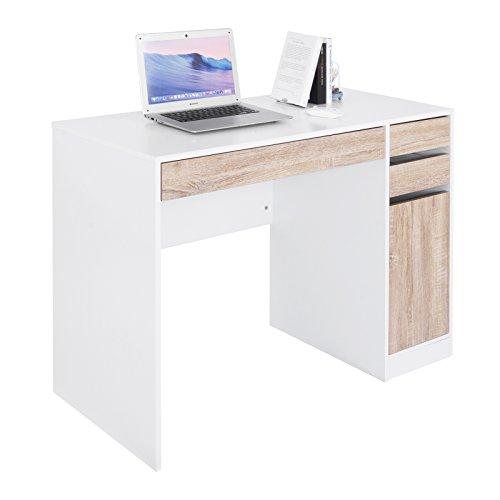 WOLTU® Schreibtisch TS42ws Computertisch Bürotisch Arbeitstisch PC Laptop Tisch, in Melamin, mit 3 Schubladen und 1 Schrank, 110x50x75cm(BxTxH), Holz, Weiß -