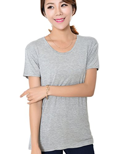 Bestgift Damen 0-Necke kürzarme Tee Basic einfabrig T-Shirt West Hell Grau XXXXL