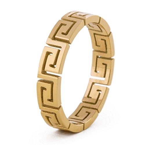 | Griechisch Ornament Design-Ring Frauen Herren Edelstahl Filigran Mäander - Gold - US 8 ()