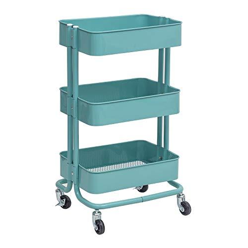 WOLTU Küchenwagen Rollwagen Servierwagen Küchentrolley Metall Roll Regal für Küche Bad Büro mit Rollen 3 Etagen Mint RW005mt -