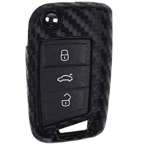 Carbon Soft Case Schutz Hülle Auto Klapp Schlüssel für VW Polo AW Golf AU Jetta VI Touran T-ROC Tiguan AD (Jetta Remote-schlüssel)