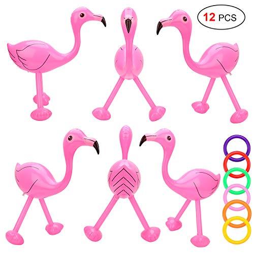 Howaf 6Set Ringwurfspiel Aufblasbare Flamingo Rosa Pink, 51 cm, wurfspiel Kinder draußen aufblasbares zubehör Pool Spielzeug mit 6 Ring für Sommer Party Geburtstag Hochzeit