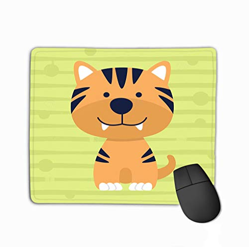 Mouse Pad Cute Little Tiger Soft Color Kids Design Poster Cartoon Character Kid Education Rectangle Rubber Mousepad 11.81 X 9.84 Inch (Cartoon-tiger-poster)