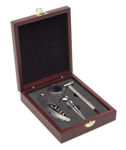 Weinset 4-teilig in edler Holzkiste mit Weinthermometer und Kellnermesser