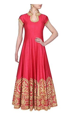 RRFashion Pink Color Latest Designer Party Wear, Traditional, Indo-Western Long Gown (Semi-Stitched_Free...