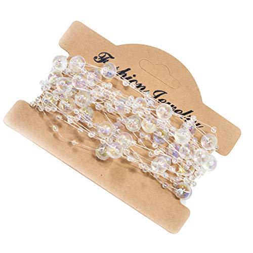 Fenteer Klare Perlenband mit Blumen Perlenschnur Organzaband Dekoband Perlenkette Tischdeko -