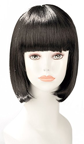World Wigs Perruque Brune Carré Mi-Longue Plongeant avec Frange