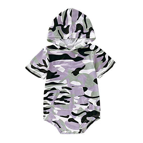 Overall Baby Sommer Infant Short Sleeve Camouflage Hooded Romper Bodysuit Clothes Camouflage-baby-bib