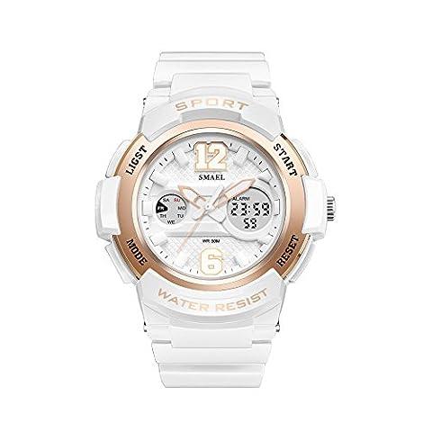 Damen Sportuhr Wasserdichte Lumineszenz Armbanduhr für Mädchen Elektronische Quarzwerk Jungen Digitaluhr mit Wecker / Stoppuhr / Kalender Funktion,Weiß und Rose
