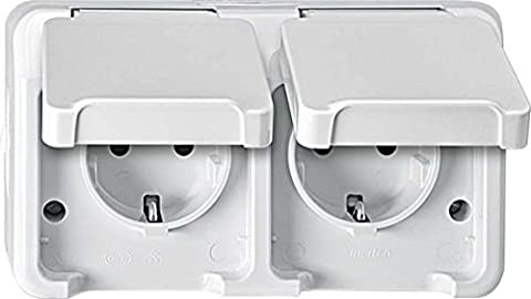 Merten Aquastar Horizontal Shuko Dual Double Plug Socket Surround. BRS, Polar White, MEG2320 8019