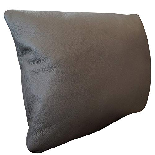 Quattro Meble Grau Echtleder Kissen Sofa & Stuhl Dekokissen Zierkissen Echtleder Rückenkissen Rindsleder Echt Leder Modell 1EL (30 x 40 cm)