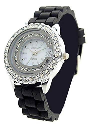 Damen Uhr Silber Strass Analoges Quarz Uhrwerk mit Silikon Armband schwarz