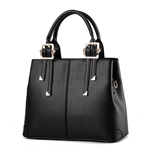 Koson da donna alla moda, in pelle sintetica PU, motivo Vintage Beauty, maniglia superiore Borsa Tote Bags, nero (Nero) - KMUKHB100