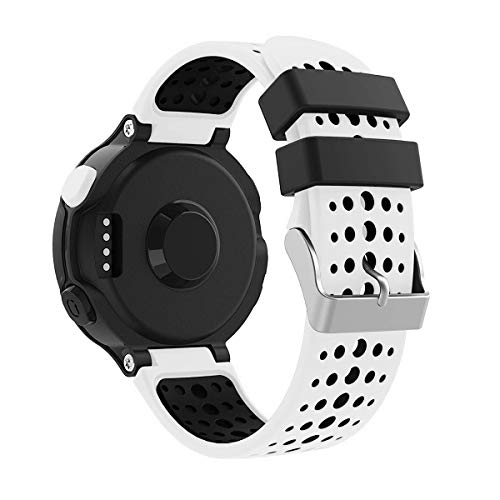 Yayuu Garmin Forerunner 235 Bracelet de Montre, Bracelet de Remplacement Bande de Montre en Silicone avec Outils pour Forerunner 235/220/230/620/630/735XT Montre de Running GPS (Blanc-Noir)