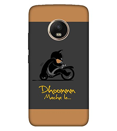 Takkloo Dhoom macha le ( Bat in Black, Super hero on black bike, man wearing black mask, Cartoon, Grey Background) Printed Designer Back Case Cover for Motorola Moto G5 Plus  available at amazon for Rs.399