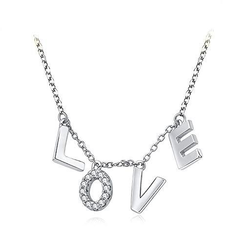 Fashion Love Font mit Diamant Anhänger, Silber Farbe ()