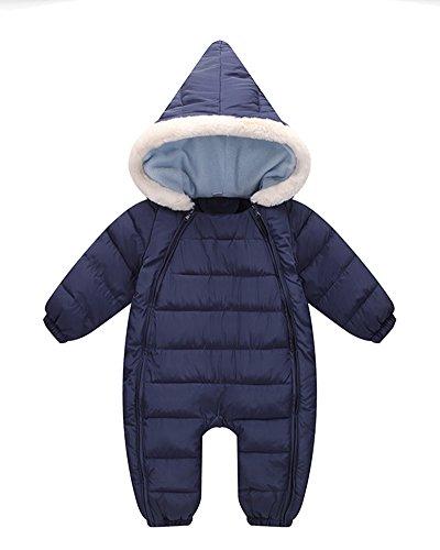 Bebé Traje de Nieve Niñas Mameluco con Capucha Invierno Peleles Grueso Monos Azul Marino 90