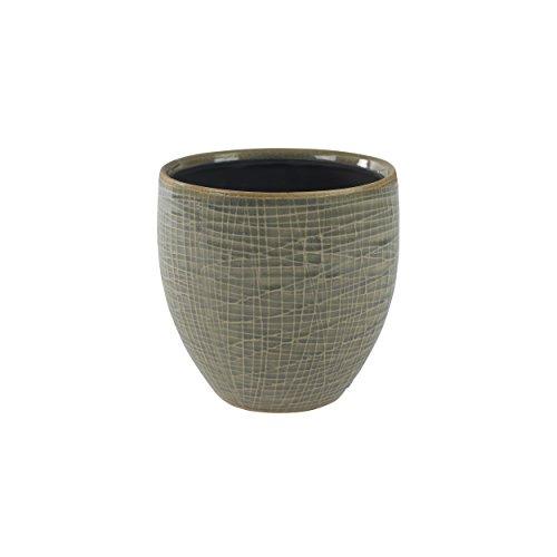 TS Indoor Keramik Blumentopf Lotte Ø 13 cm, Höhe 13 cm, Handgefertigt, glasiert, erhältlich in den Farben Blau und Hellgrau für den Innenbereich -