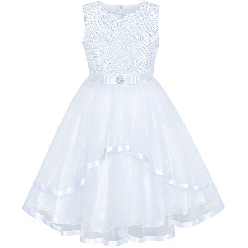 Sunboree Mädchen Kleid Blume Mädchen Kleiden Weiß Hochzeit Brautjungfer Kleiden Gr. 98 (Kleine Mädchen-kleid)