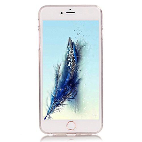 Pheant® Apple iPhone 6 Plus/6S Plus Coque Gel Étui Housse de Protection Transparent Cas en TPU Soulple Silicone(Panda) Plume Bleu