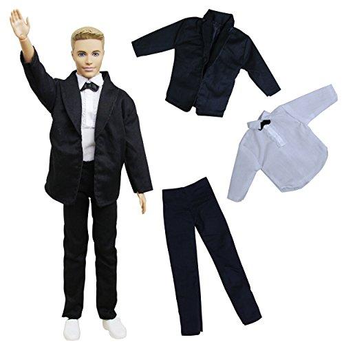 ZITA ELEMENT Herren Hochzeit Anzug Set für Barbie Freund Ken Mann Kleidung Anzugjacke Outfit Hemd Hose Puppenkleidung Hochzeit Bräutigam (Hosen-anzug Outfit Set)