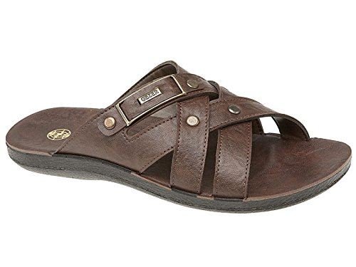 Mens Bruce Gezer Leather Look Slip On Sport Beach Surf Flip Flop Mule Sandals Shoe Brown Size 7 UK