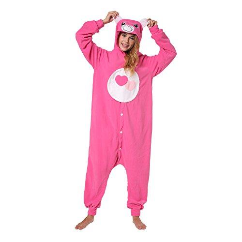 Katara 1744 Glücksbärchis Onesie Herz-Kostüm, Tiere, Party, Karnevals-Kostüm in Pink, Verkleidung zum Fasching, Sleepsuit, Schlafanzug, Hausanzug, Jogginganzug, Cosplay, Pink (Pink Für Erwachsene Kostüm Damen)