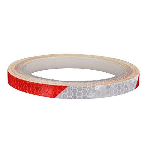 2er Pack Reflektierende Aufkleber Motorrad Fahrrad Radfahren Felgen Sticker Sicherheit Band Nacht Reflektor Streifen Tape (Rot + Weiß)