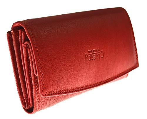 flevado Damen Leder Geldbörsen Damen Portemonnaie in Schwarz oder Rot mit viel Stauraum und 23 Kartenfächern (rot nappa)