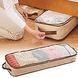 Delicacydex Underbed Aufbewahrungstasche Flexible Reißverschluss atmungsaktiv Polypropylen Aufbewahrungstaschen für Decken Kleidung Schuhe und Bettwäsche 37L - Braun