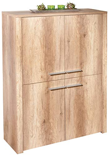 H24living Kommode 4 Türen Sideboard Anrichte Mehrzweckschrank Highboard Schrank Esszimmer Wohnzimmer Schlafzimmer 107x40x142cm