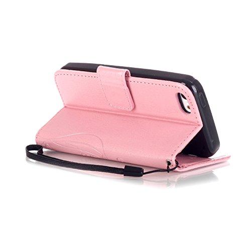 iPhone Case Cover Papillon Et Fleur Embossing Premium Housse En Cuir PU Housse Magnétique Flip Portefeuille Folio Avec Bling Diamant Résine Rhinestone Décor Pour IPhone 5C ( Color : Brown , Size : IPh Pink