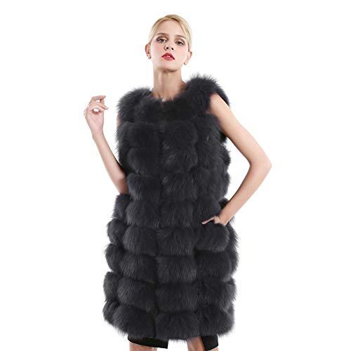 Gilet di pelliccia per donna inverno caldo di lusso gilet morbido senza maniche gilet di pelliccia di volpe reale gilet lungo (grigio scuro, m(formato del busto:92cm))
