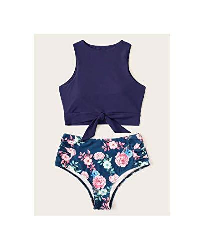 Floral Print Bikini Sets High Neck Women Swimwear High Waist Lace Up Two Pieces Swimsuit Girls Bikinis Sexy Beach Bathing Suit Red L - Floral Print Bikini Set