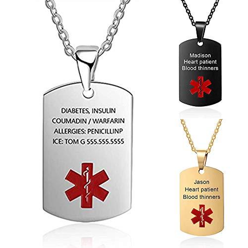 DaMei Colgante Hombre Personalizado Alerta Médica Placa Colgante Etiqueta de Perro Militar Hombre Collar Chapas Militares Personalizadas Grabado Personalizado