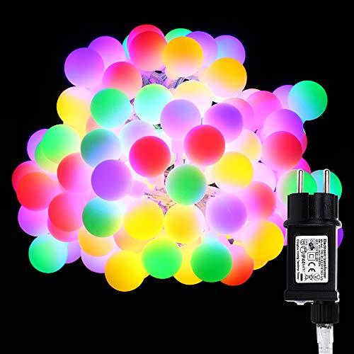 Globe Lichterkette Bunt, VegaHome 10M 100er LED Kugel Lichterkette Innen Außen 8 Modi...