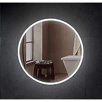 SOGOO® Miroir Rond mural Salle de Bains avec éclairage LED 60cm+Interrupteur Tactile + Lumière Blanc Froid Naturel 6500K…