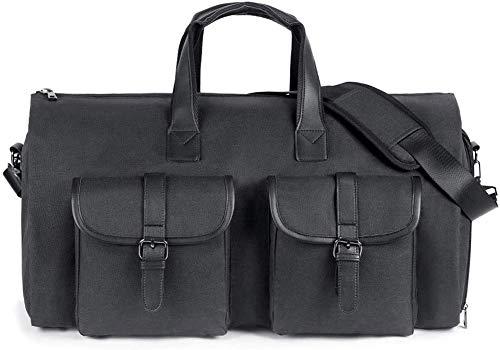 WULAU Anzug Carry On Kleidersack, Canvas Reisetasche Reisetasche am Wochenende Flugtasche mit Schultergurt Reise- und Geschäftsreisen, Faltenfrei für Anzughemden Kleider Mäntel -